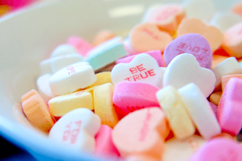 Love hearts in bowl. Understanding your stakeholders.