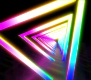 Glowing neon color triangle tunnel