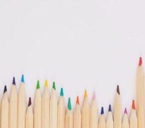 white papers colour pencils