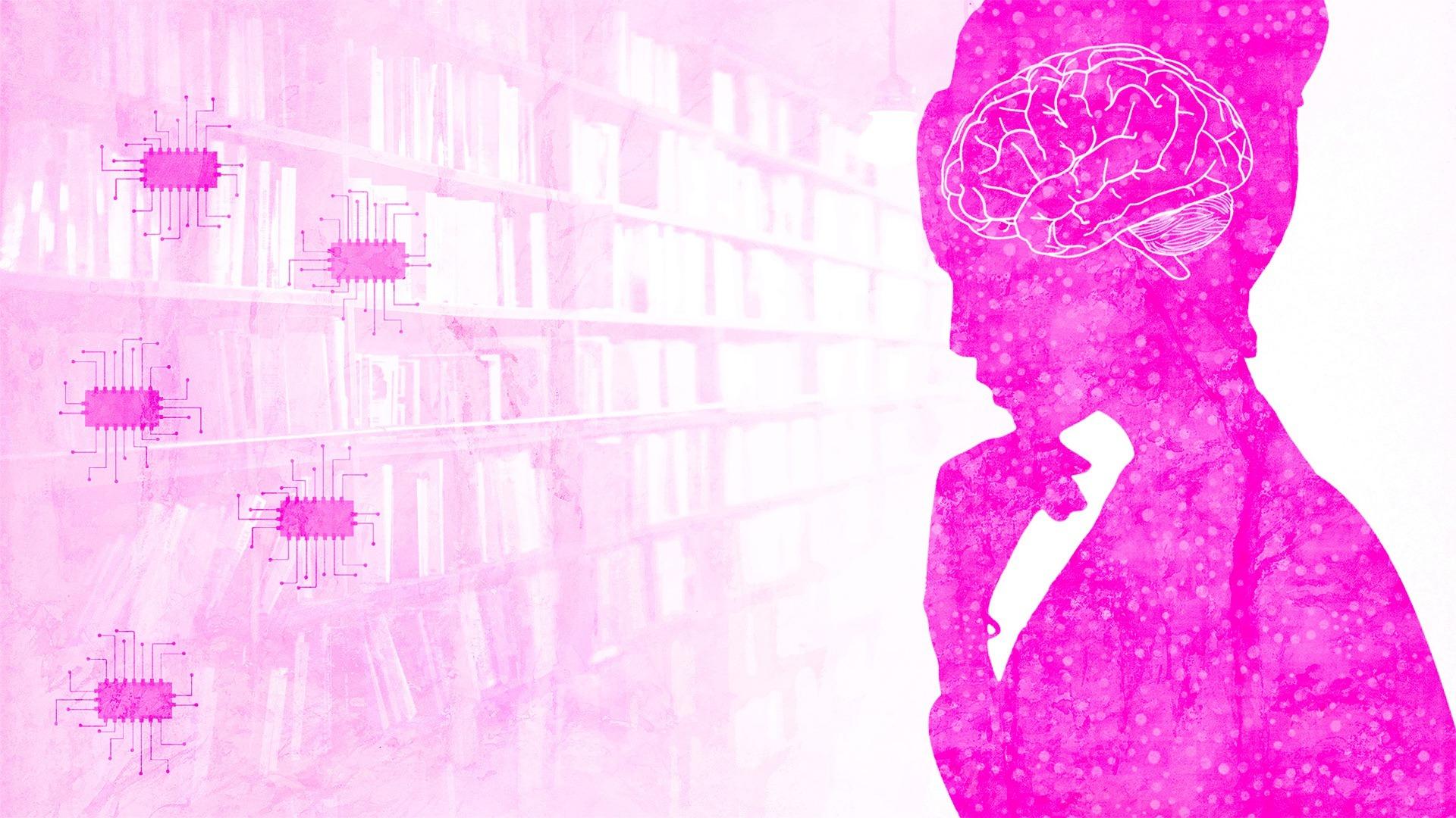 pink tech woman thinking